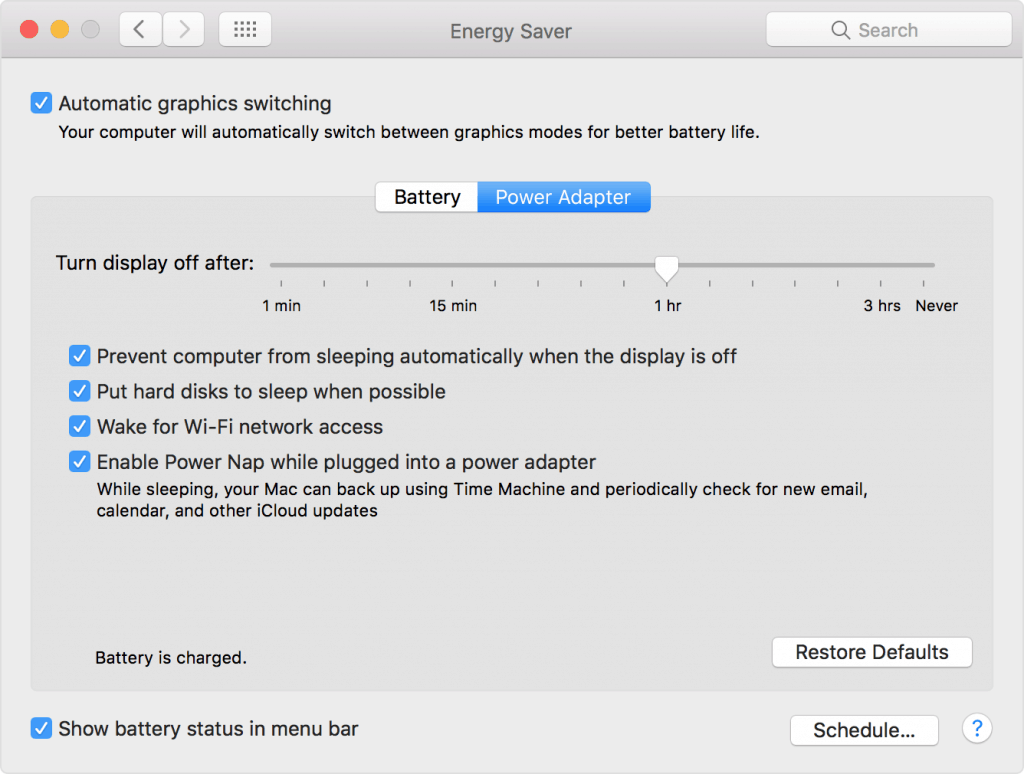 Mac laptop power settings
